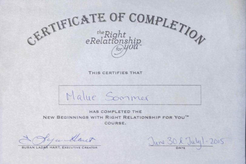 Right relationship certifikat af undervisning
