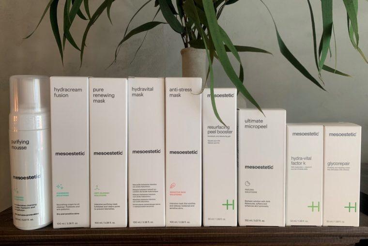 Billede af hele produkt linjen fra MESOESTETIC® hudpleje fra Maluesommer Wellness